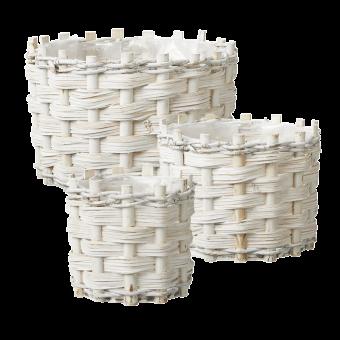 Lined Teton Baskets (Set of 3) - Round - White