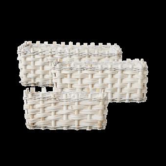 Lined Teton Baskets (Set of 3) - Rectangular - White