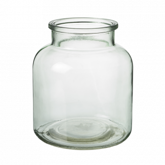 Hailey Glass Jar - 16cm - Recycled Green