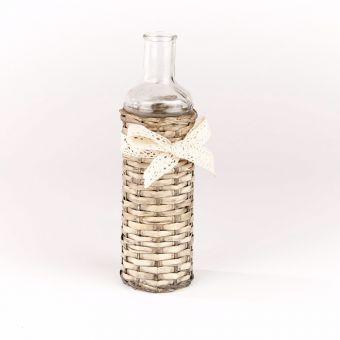 Glass Bottle In Wicker Cover - 24cm x 7cm