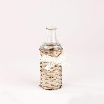 Glass Bottle In Wicker Cover - 19cm x 7cm