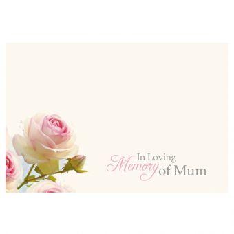 In Loving Memory of Mum White & Pink Rose - Large (Pack of 9)
