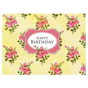 Happy Birthday - Rose Bunch Yellow Print (Pack of 25)
