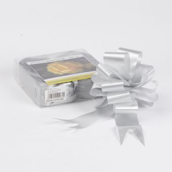 Pull Bow - Silver - 5cm, 18 loop bow (Pack of 20)