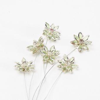 Flower Pick - Green/Silver Edge (Pack of 6)