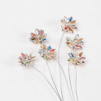 Flower Pick - Multi/Silver Edge (Pack of 6)