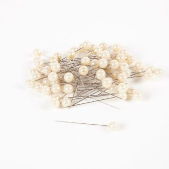 Round Headed Pearl Pins - Ivory - 65mm x 10mm (Pack of 72)