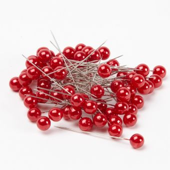 Round Headed Pearl Pins - Red - 65mm x 10mm (Pack of 72)