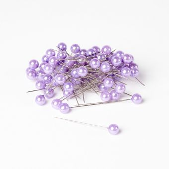 Rounded Headed Pearl Pins - Lilac - 65mm x 10mm (Pack of 72)