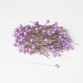Round Headed Pearl Pins - Lilac - 65mm x 6mm (Pack of 144)