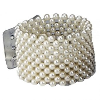 Large Pearl Flower Bracelet - Ivory
