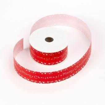 Merry Christmas Ribbon - Red/White - 3.1cm x 25m