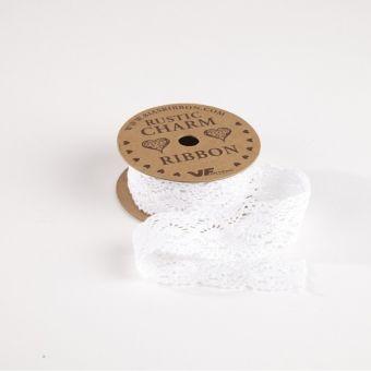 Cotton Lace Ribbon  - White - 28mm x 3m