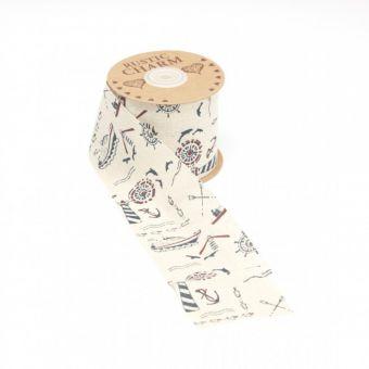Cotton Print Ribbon - Seafarer - 70mm x 10m