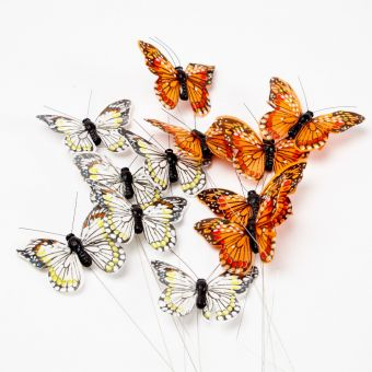 Feather Butterfly on Wire - Yellow/Orange - 7cm (Pack of 12)