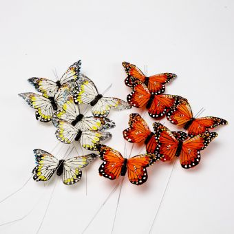 Feather Butterfly on Wire - Yellow/Orange - 11cm (Pack of 12)