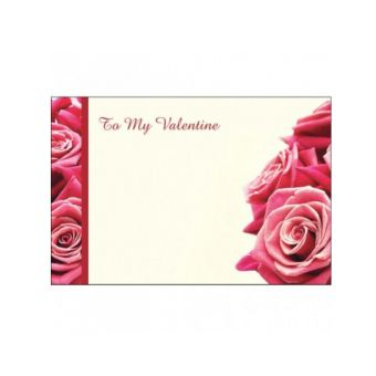 Valentines Day Red Roses with a Side Border (Pack of 50)