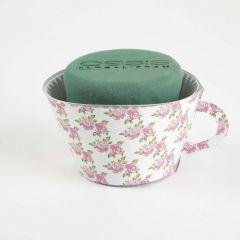 OASIS® Ideal Floral Foam Maxlife Tea Cups - Pink Rose - 12cm (Pack of 6)