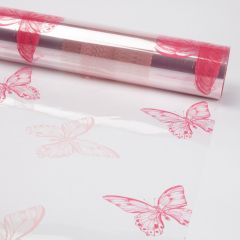 Printed Film Roll Butterflies - Two Tone Pink - 38 micron - 80cm x 100m