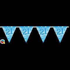Blue Foil Birthday Flag Bunting